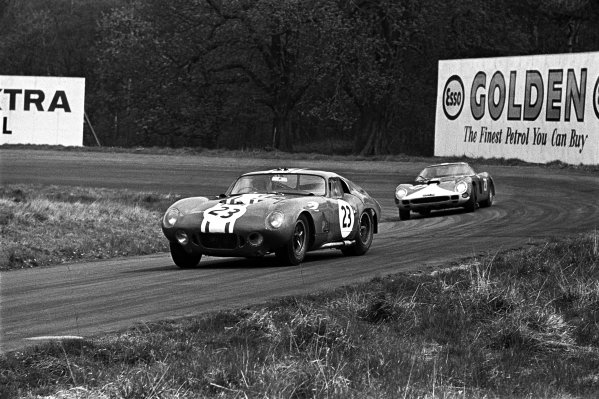 Oulton Park, Cheshire, England. 1st May 1965. Rd 6.Frank Gardner (Shelby Cobra Willment), 10th position, leads Mike Salmon (Ferrari 250 GTO/64), 12th position, action. World Copyright: LAT Photographic.Ref:  B/W Print.