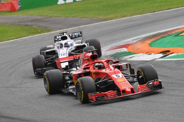 Sebastian Vettel, Ferrari SF71H and Lance Stroll, Williams FW41 battle