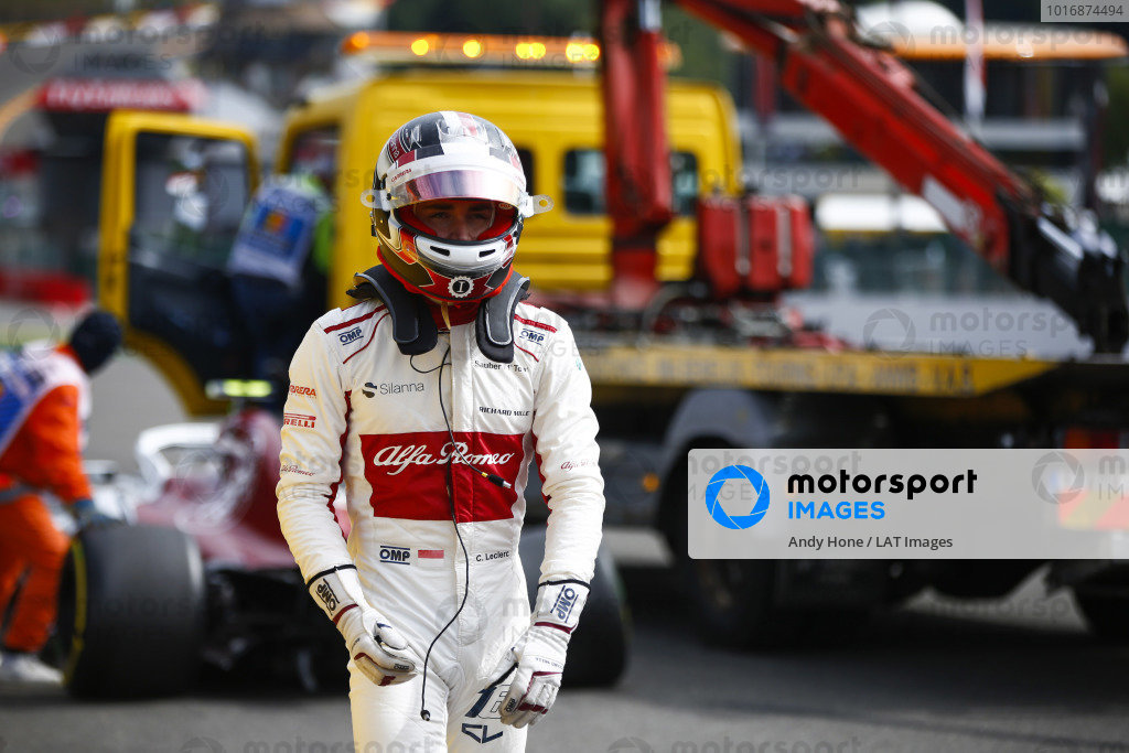 Charles Leclerc, Alfa Romeo Sauber C37, retires on the opening lap, after contact from Fernando Alonso, McLaren.