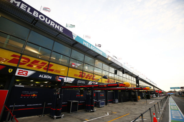 The Red Bull Racing garage in the pit lane