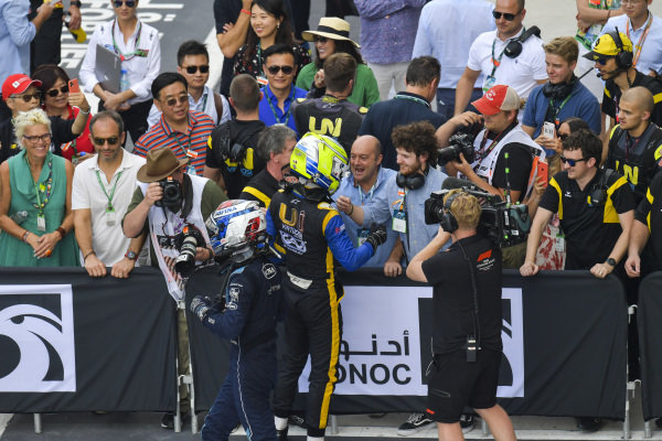 Luca Ghiotto (ITA, UNI VIRTUOSI) and Nicholas Latifi (CAN, DAMS), celebrate in parc ferme