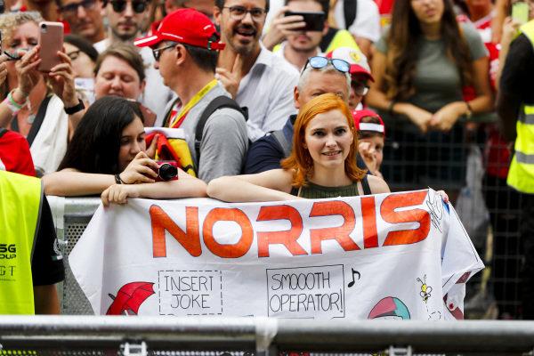 Fan on Lando Norris, McLaren in the fan zone