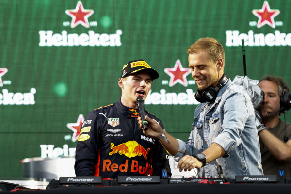 Max Verstappen, Red Bull Racing, 1st position, with DJ Armin van Buuren after the podium ceremony