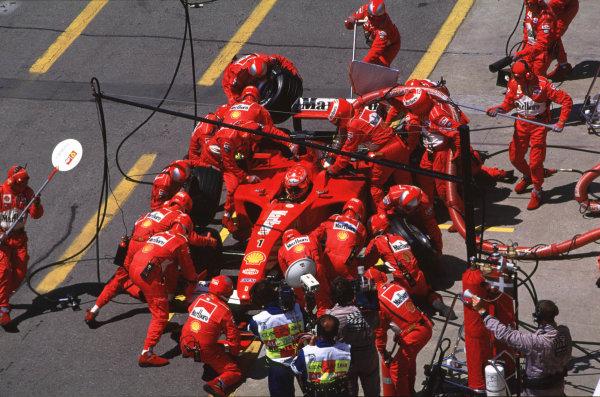 2001 Canadian Grand PrixMontreal, Canada. 8th-10th June 2001Michael Schumacher, Ferrari F2001, pitstop.World Copyright: LAT Photographicref: 35mm Image A18