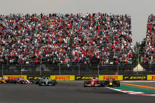Max Verstappen (NED) Red Bull Racing RB13 and Sebastian Vettel (GER) Ferrari SF70-H battle and collide at the start of the race at Formula One World Championship, Rd18, Mexican Grand Prix, Race, Circuit Hermanos Rodriguez, Mexico City, Mexico, Sunday 29 October 2017. BEST IMAGE