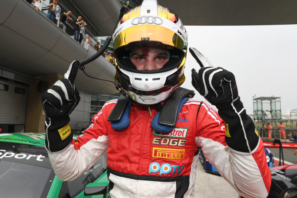 Dries Vanthoor (B) Castrol Racing Team celebrates victory in Race One in Parc Ferme at Audi R8 LMS Cup, Rd7 and Rd8, Shanghai, China, 8-10 September 2017.