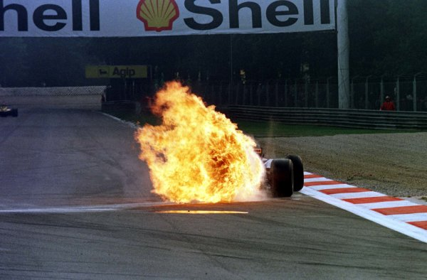 1997 Italian Grand Prix.Monza, Italy.5-7 September 1997.Jarno Trulli (Prost JS45 Mugen Honda) suffers an exploded engine during practice (Pic 2 of 3).World Copyright - Coates/LAT Photographic