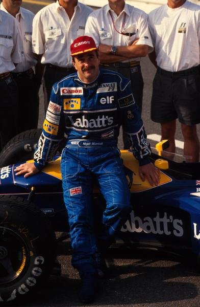 Race winner Nigel Mansell. German Grand Prix, Hockenheim, 26 July 1992