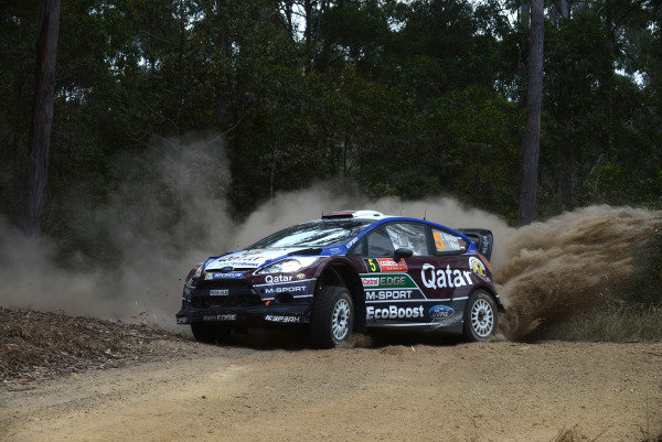 Evgeny Novikov (RUS) and Ilka Minor (AUT), Ford Fiesta RS WRC on stage 5. FIA World Rally Championship, Rd10,Day One, Coates Hire Rally Australia, Coffs Harbour, New South Wales, Australia, 13 September 2013.
