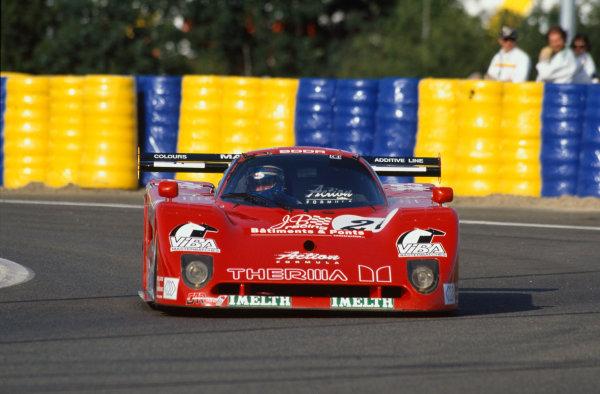 1992 Le Mans 24 Hours. Le Mans, France. 20th - 21st June 1992. Luigi Taverna/Alessandro Gini/John Sheldon (Spice SE90C), retired, action. World Copyright: LAT Photographic. Ref:  92LM31.