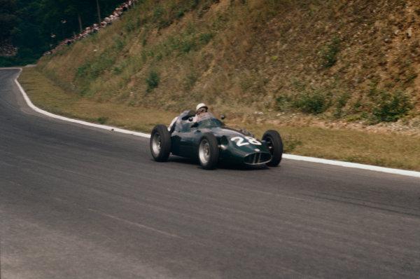 Rouen-Les-Essarts, France. 5-7 July 1957. Herbert MacKay-Fraser (BRM P25). Ref-57 FRA 19. World Copyright - LAT Photographic