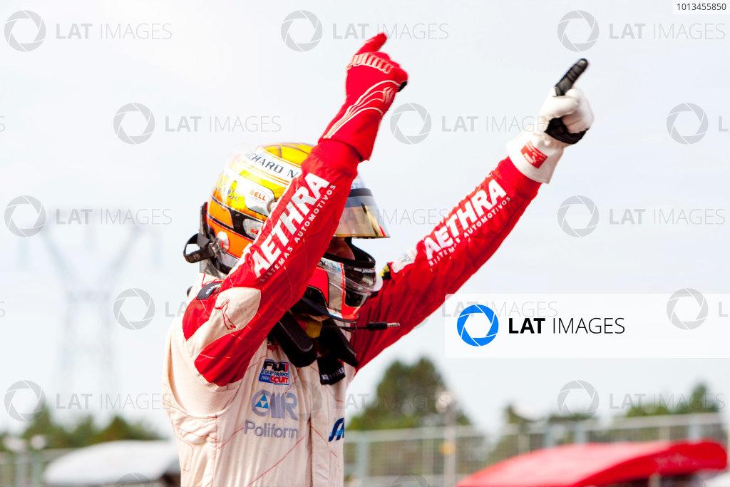 Dijon - Prenois, France. Sunday 11th October. Jules Bianchi (ART Grand Prix Dallara F308 / Mercedes) celebrates winning the 2009 Formula 3 Euro Series. World Copyright: Alastair Staley/LAT Photographic.Ref: _O9T9641 jpg