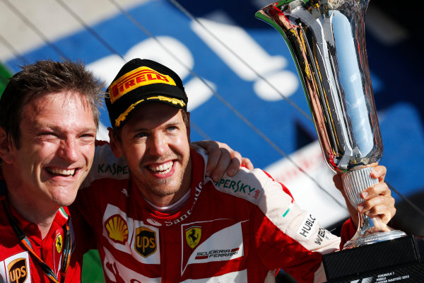 Hungaroring, Budapest, Hungary. Sunday 26 July 2015. Sebastian Vettel, Ferrari, 1st Position, and James Allison, Technical Director, Ferrari, celebrate with the trophies on the podium. World Copyright: Alastair Staley/LAT Photographic ref: Digital Image _79P0970