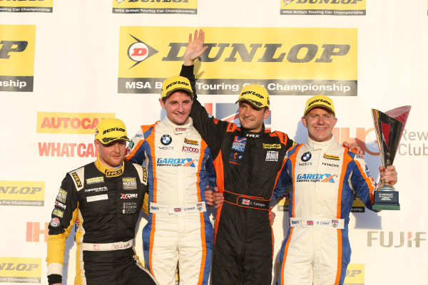 2015 British Touring Car Championship, Silverstone, Northants. 26th-27th September 2015, Jpsh Cook, Sam Tordoff (GBR) WSR BMW 125i M Sport, Colin Turkington (GBR) Team BMR Volkswagen Passat CC and Rob Collard (GBR) WSR BMW 125i M Sport World copyright. Jakob Ebrey/LAT Photographic