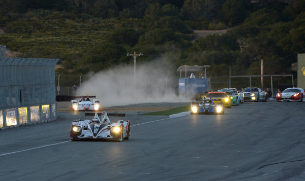 9-11 May, 2013, Monterey, California USA.#6 Muscle Milk Pickett Racing HPD ARX-03a on restart as #05 Oreca loose class  lead to #52 Oreca. ©2013, Dan R. Boyd LAT Photo USA