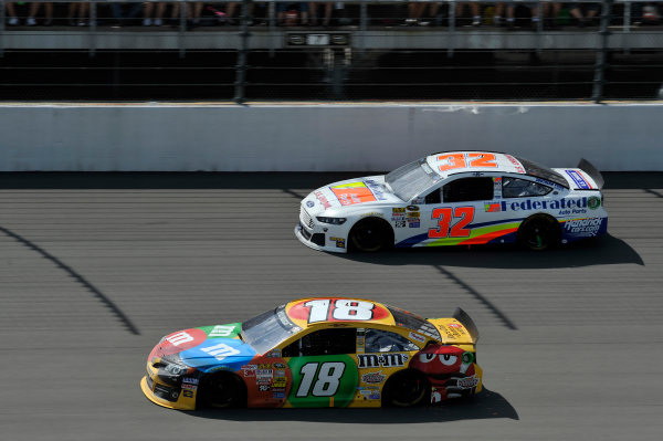 14-16 June, 2013, Brooklyn, Michigan USA Kyle Busch, M&M's Toyota Camry, Ken Schrader ©2013, Scott R LePage LAT Photo USA