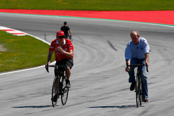 Red Bull Ring, Spielberg, Austria. Thursday 06 July 2017. Kimi Raikkonen, Ferrari, cycles the track. World Copyright: Andy Hone/LAT Images ref: Digital Image _ONY9327
