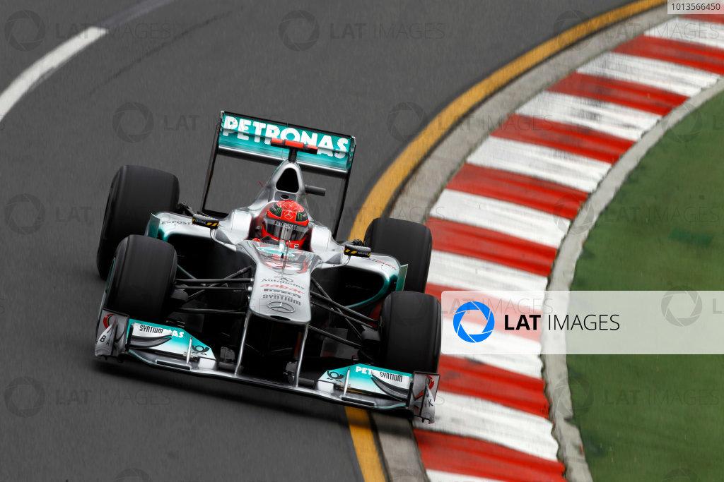 Albert Park, Melbourne, Australia25th March 2011.Michael Schumacher, Mercedes GP W02. Action. World Copyright: Andrew Ferraro/LAT Photographicref: Digital Image _Q0C7926