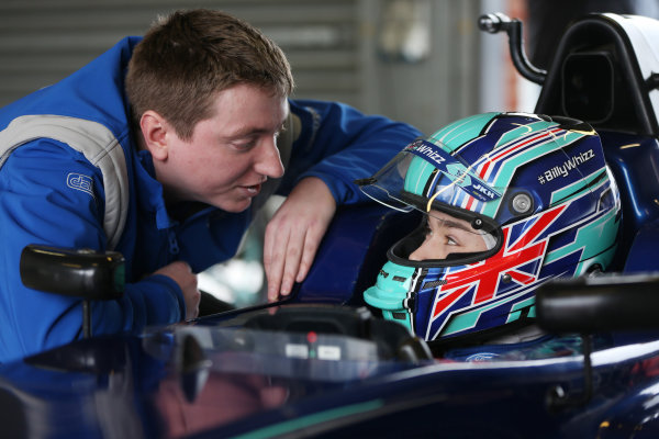 Oulton Park, Cheshire, UK. Tuesday 6 February 2018. Billy Monger (GBR) makes his single seater racing car comeback by testing a Carlin run MSV Formula 3 car. The car has been specially adapted with hand controls to enable Billy to compete. World Copyright: Jakob Ebrey/LAT Images ref: Digital Image BillyMonger-023
