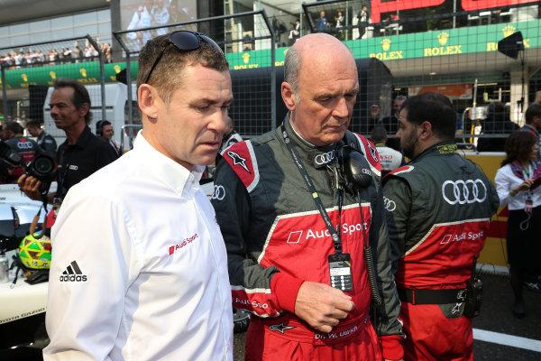 2016 FIA World Endurance Championship, Shanghai, China. 4th - 6th November 2016. Tom Kristensen and Dr Wolfgang Ullrich Audi Sport. World Copyright: Ebrey / LAT Photographic.