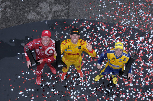 25-27 April, 2014, Birmingham, Alabama USA Scott Dixon, Ryan Hunter-Reay, and Marco Andretti (l to r) in Victory Lane. ©2014, Paul Webb LAT Photo USA