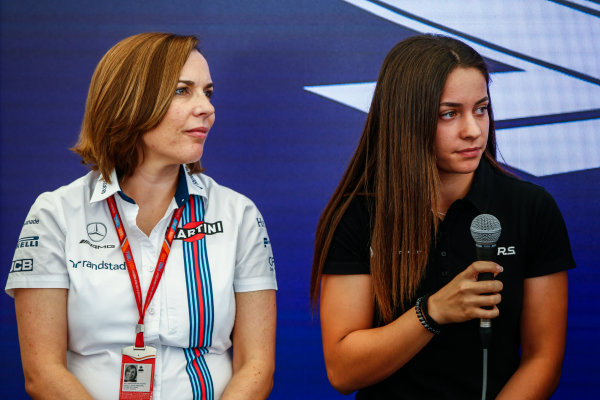 Monte Carlo, Monaco. Saturday 27 May 2017. Claire Williams, Deputy Team Principal, Williams Martini Racing, and Marta Garcia, Renault Sport Academy, at a Women in Motorsport Press Conference. World Copyright: Andy Hone/LAT Images ref: Digital Image _ONZ0390