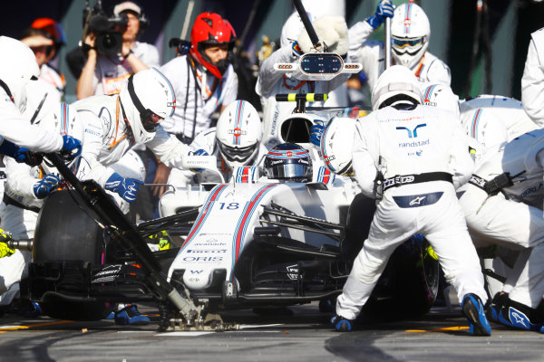 Albert Park, Melbourne, Australia. Sunday 26 March 2017. Lance Stroll, Williams FW40 Mercedes, in the pits. World Copyright: Steven Tee/LAT Images ref: Digital Image _O3I3045