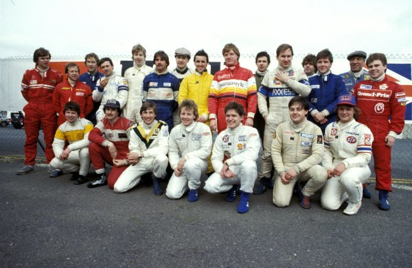 Drivers competing in the 1984 British F3 Championship, including Allen Berg (CAN) and Johnny Dumfries (GBR).British F3 Championship, 1984.