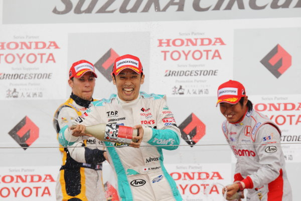 Suzuka Circuit, Japan. Rd 7 - 3rd - 4th November 2012. Race 2 Winner Kazuki Nakajima ( #2 PETRONAS TEAM TOM'S ) podium, portrait. World Copyright: Yasushi Ishihara/LAT Photographic ref: Digital Image 2012FN_Rd7_024
