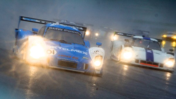 27-29 March, 2012, Homestead, Florida USA The #01 BMW Riley of Scott Pruett and Memo Rojas races through the banking in heavy rain. (c)2012, R.D. Ethan LAT Photo USA