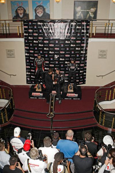 26-28 March, 2010, St. Petersburg, Florida, USAWill Power, Justin Wilson and Ryan Briscoe on the world's strangest podium.©2010 Phillip Abbott, USALAT Photographic