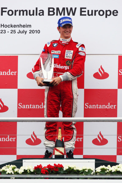 Race winner Timmy Hansen (SWE)  Mucke-Motorsport celebrates on the podium. Formula BMW Europe, Rds 7 & 8, Hockenheim, Germany, 23-25 July 2010.