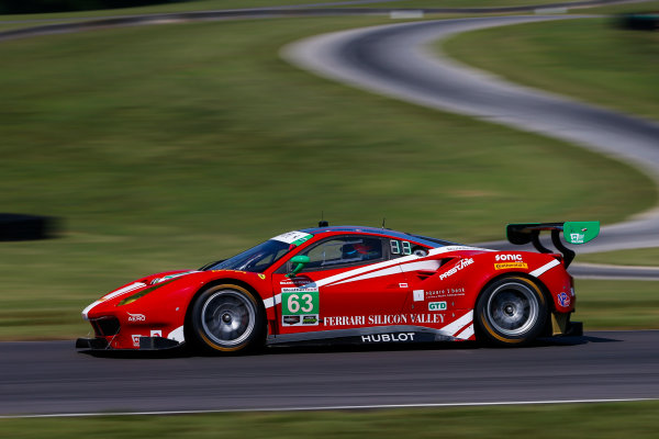 IMSA WeatherTech SportsCar Championship Michelin GT Challenge at VIR Virginia International Raceway, Alton, VA USA Friday 25 August 2017 63, Ferrari, Ferrari 488 GT3, GTD, Alessandro Balzan, Christina Nielsen World Copyright: Jake Galstad LAT Images