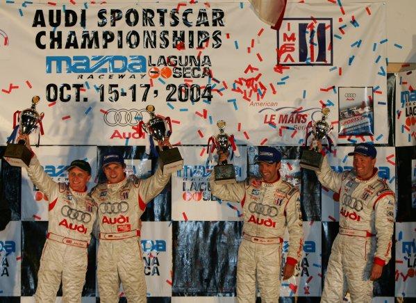 2004 American Le Mans Series (ALMS)Laguna Seca, California, USA. 15 - 16 October.Champion Audi drivers finish 1-2 overall.World Copyright: Richard Dole/LAT Photographicref: Digital Image Only