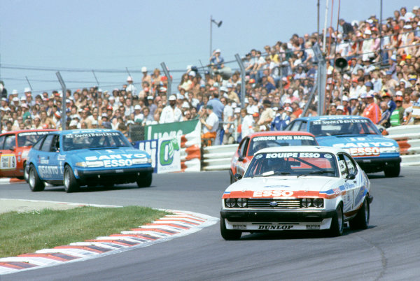 Brands Hatch, England. 16th - 18th July 1982. Rd 8. Vince Woodman (Ford Capri III 3.0S), 4th position, leads Gordon Spice (Ford Capri III 3.0S), 2nd position and Pete Lovet (Rover 3500 S), 1st position, at the start, action.  World Copyright: LAT Photograhic. Ref: Colour Transparency.