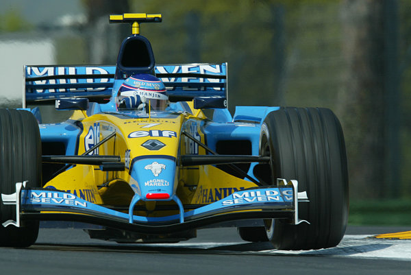 2003 San Marino Grand Prix - Friday 1st QualifyingImola, Italy. 18th April 2003Jarno Trulli, Renault R23, action.World Copyright: LAT Photographic ref: Digital Image Only