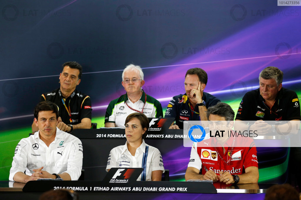 Yas Marina Circuit, Abu Dhabi, United Arab Emirates. Friday 21 November 2014. Federico Gastaldi, Deputy Team Principal, Lotus F1, Finbarr O'Connel, Administrator, Caterham F1, Christian Horner, Team Principal, Red Bull Racing, Bob Fearnley, Deputy Team Principal, Force India, Toto Wolff, Executive Director (Business), Mercedes AMG, Claire Williams, Deputy Team Principal, Williams F1, and Marco Mattiacci, Team Principal, Ferrari, in the team principals Press Conference. World Copyright: Alastair Staley/LAT Photographic. ref: Digital Image _79P8669