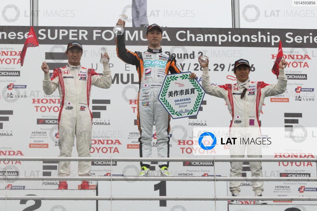 2016 Japanese Super Formula. Okayama, Japan.  28th - 29th May 2016. Rd 2. Winner Hiroaki Ishiura ( #1 P.MU/CERUMO ? INGING SF14 ) 2nd position Koudai Tsukakoshi ( #10 REAL SF14 ) 3rd position Takuya Izawa ( #11 REAL SF14 ) podium World Copyright: Yasushi Ishihara/LAT Photographic ref: Digital Image 2016SF_Rd2_006