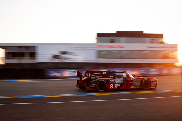 2016 Le Mans 24 Hours. Circuit de la Sarthe, Le Mans, France. Audi Sport Team Joest / Audi R18 - Lucas Di Grassi (BRA), Loic Duval (FRA), Oliver Jarvis (GBR).  Saturday 18 June 2016 Photo: Adam Warner / LAT ref: Digital Image _L5R5339