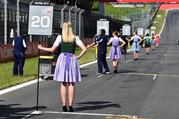 Grid girls at GP3 Series, Rd2, Spielberg, Austria, 19-21 June 2015.