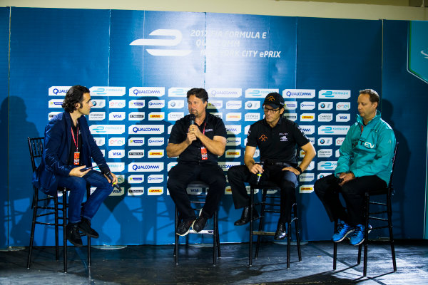 2016/2017 FIA Formula E Championship. Round 9 - Brooklyn, New York City, United States of America Friday 14 July 2017. Dario Franchitti with Michael Andretti, Jay Penske and Gerry Hughes. Photo: Sam Bloxham/LAT/Formula E ref: Digital Image _J6I2587