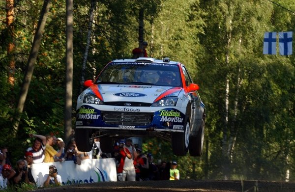 Carlos Sainz (ESP) Ford Focus RS WRC finished fourth at the end of leg 2.Fia World Rally Championship, Rd9, Neste Rally Finland, Day Two, 10 August 2002.DIGITAL IMAGE