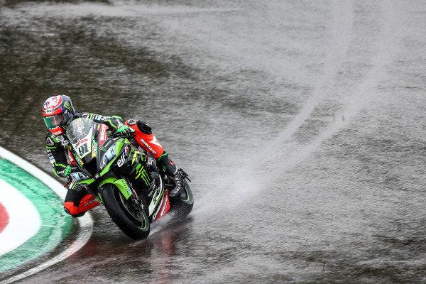 Leon Haslam, Kawasaki Racing Team on wet assessment lap.