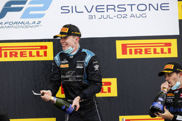 Race winner Dan Ticktum (GBR, DAMS) celebrates on the podium with the champagne with Louis Deletraz (CHE, CHAROUZ RACING SYSTEM)