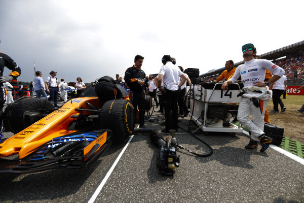 Fernando Alonso, McLaren, on the grid.