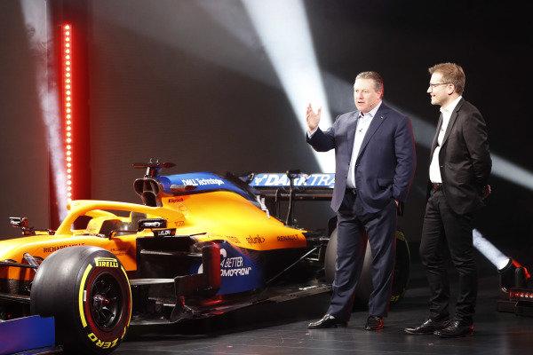 Zak Brown, CEO, McLaren Racing, and Andreas Seidl, Team Principal, McLaren, launch the McLaren MCL35