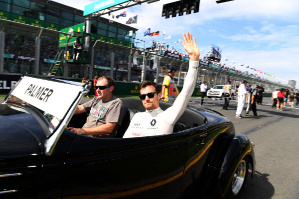 Jolyon Palmer (GBR) Renault Sport F1 Team on the drivers parade at Formula One World Championship, Rd1, Australian Grand Prix, Race, Albert Park, Melbourne, Australia, Sunday 26 March 2017.