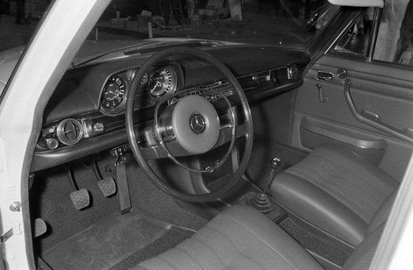 Interior of an unid Mercedes Benz saloon car.