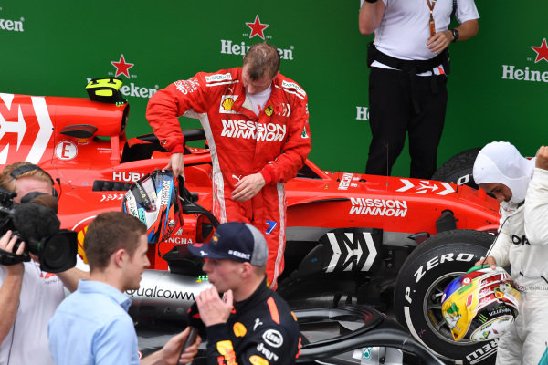 Kimi Raikkonen, Ferrari SF71H v Parc Ferme