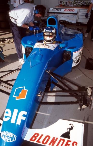 Preparations are made to the Ligier JS39B Renault that  Michael Schumacher (GER) will test to evaluate the Renault V10 engine that will power his Benetton for the following season. Formula One testing, Estoril, Portugal, 12-16 December 1994.